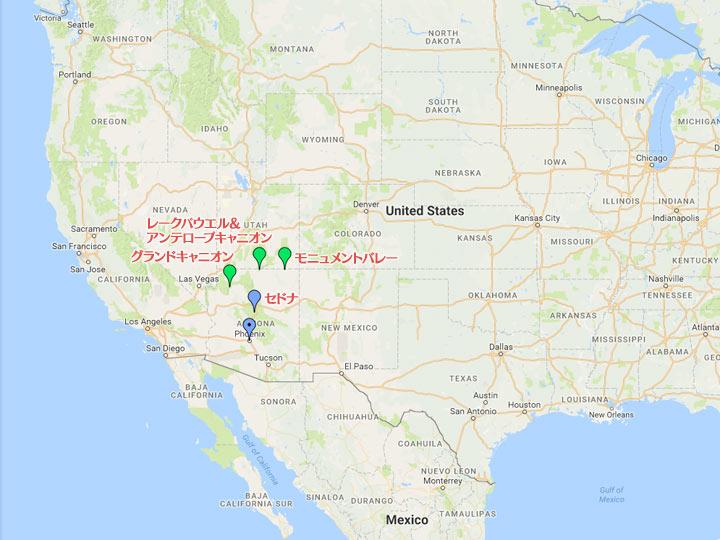 アリゾナ州の地図